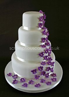 Wedding Cake - Purple Orchid Cascade by Scrumptious Cakes (Paula-Jane), but with blue flowers!