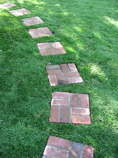 Path of used brick stepping stones. Stepping Stone Walkways, Brick Pathway, Brick Garden, Stone Paths, Front House Landscaping, Backyard Landscaping, Backyard Creations, Brick Steps, Backyard Renovations