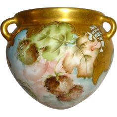Hanging Vase Jardiniere Cache Pot Hand Painted Autumn Foliage