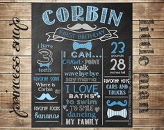 Etsy の Tie First Birthday Chalkboard Poster Sign by PrincessSnap