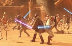 Kenobi fighting alongside Mace Windu in the Petranaki arena. Star Wars Jedi, Star Wars Art, Star Trek, Star Wars Canon, Star Wars The Old, Mace Windu, Battle Droid, The Old Republic, Jedi Knight