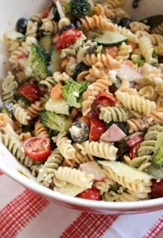 Get ready for all those summer gatherings with this Potluck Pasta Salad recipe! It's the perfect dish to share with a crowd and will please everyone at the party! #pastasalad #saladrecipes #potluckrecipes #pastarecipes #potluckideas #sidesrecipes Tri Color Pasta Salad, Best Pasta Salad, Pasta Salad Italian, Pasta Salad Recipes, Appetizer Sandwiches, Tailgate Sandwiches, Appetizers, Sassy, Colored Pasta