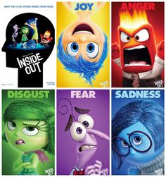 Disney Inside out Story : Release Date: June 2015 Studio: Disney Pixar Genre: Animation, Comedy, Fantasy Growing up can be a bumpy road, and it's no exce Inside Out Emotions, Inside Out Characters, Pixar Characters, Pixar Movies, Up Pixar, Disney Inside Out, Movie Inside Out, Film Disney, Disney Movies