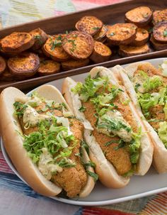 We're roasting sweet potatoes with Cajun spices and serving them with a New Orleans classic: the po' boy sandwich.