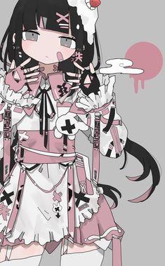 Anime Girl Drawings, Anime Art Girl, Cute Drawings, Cute Art Styles, Cartoon Art Styles, Kaai Yuki, Pastel Goth Art, Art Folder, Art Prompts