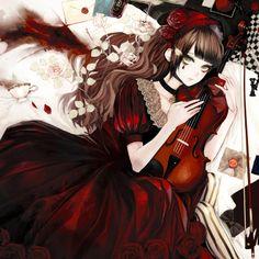 ✮ ANIME ART ✮ classic lolita. . .music. . .violin. . .roses. . .cute. . .kawaii