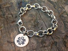 Medical alert ID bracelet Orbit custom engraved by MyBugle