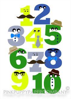 Number Gentlemen Mustaches 5x7 Print $10