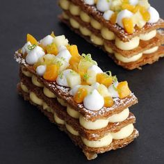 Tropical Mille Feuille combining passion fruit, mango and coconut cream layered in 3 golden caramelized puff pastry. This dessert will make everyone say WOW Coconut Mousse, Coconut Cream, Dessert Simple, Mille Feuille Dessert, Cake Recipes, Dessert Recipes, Dessert Ideas, Mango Cream, Mango Puree