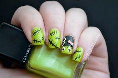 Halloween Nail Art - Bride of Frankenstein