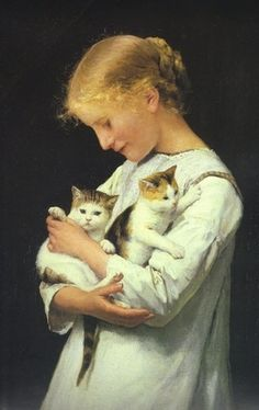 Girl With Two Kittens is an oil on canvas by Albert Anker, Swiss, (1831-1910).