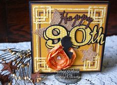 90th Birthday card featuring Curtsey Boutique embellishments, created by designer, Andrea Amu.