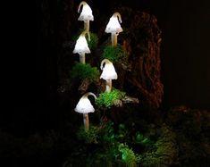 Paper Mache Mushroom Lamp Light Sculpture Handmade Lamp | Etsy Light Table, Lamp Light, A Table, Magic Decorations, Mushroom Lights, White Mushrooms, Handmade Lamps, Bedside Lamp, Artificial Plants