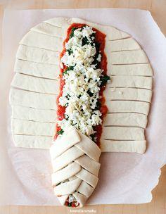 Przygotowanie warkocza ze szpinakiem i serem
