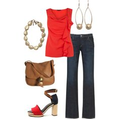 red ruffles, created by maggiesuedesigns on Polyvore