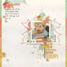 Pumpkin Soup - Scrapbook.com - Love the large stitched leaf!