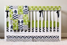 Custom Baby Bedding - Navy Elephant, Green Giraffe and Grey Baby Boy Crib Bedding, Navy Green Crib Set Elephant Baby Bedding, Baby Boy Bedding Sets, Boy Nursery Bedding, Baby Boy Cribs, Custom Baby Bedding, Baby Boy Nursery Themes, Crib Sets, Baby Boy Nurseries, Elephant Nursery