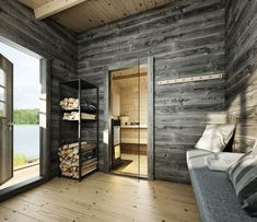 If you want the health and wellness benefits of steam without going to the spa, then you can either buy a home unit pre fabricated or create your own sauna Sauna House, Sauna Room, Indoor Sauna, Haus Am See, Sauna Design, Spa Rooms, Interior Architecture, Interior Design, Relaxation Room