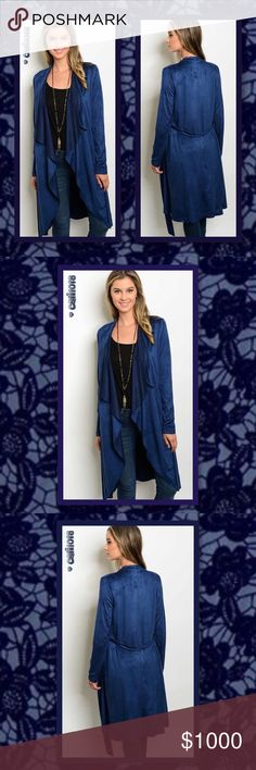"""JUST IN🆕 Gorgeous Blue Suede Waterfall Duster New blue long sleeve open drape front suede long cardigan. Color: Electric Blue Size: Small, Medium, Large Manufactured in China; Designed in USA Material: 90% Polyester 10% Spandex Fits true to size Approx measurements taken from size Small: Bust: 32"""" Waist: 26"""" Length: 42""""  💠💠PRICE FIRM UNLESS BUNDLED💠💠 🌺🌺LOWBALL AND TRADE OFFERS WILL BE IGNORED (SORRY)🌺🌺 Glam Squad 2 You Sweaters Cardigans"""