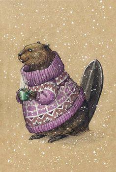 Рисованная авторская почтовая открытка с бобром из серии «Зверушки в свитере и с кружкой»