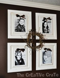 I like the idea of one sepia colored, up to date picture of each family member, wreath or large cross in the middle