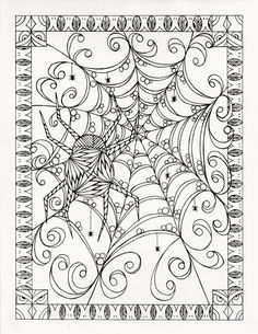 Spider webs Halloween Coloring page from an Original by KellysInkCreations Abstract Doodle Zentangle Coloring pages colouring adult detailed advanced printable Kleuren voor volwassenen coloriage pour adulte anti-stress Coloring Book Pages, Printable Coloring Pages, Coloring Pages For Kids, Coloring Sheets, Halloween Coloring Pages, Desenho Tattoo, Maquillage Halloween, Doodles Zentangles, Copics