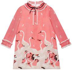 Shop for Children's herons print silk dress by Gucci at ShopStyle. Little Girl Dresses, Girls Dresses, Kids Outfits, Casual Outfits, Gucci Kids, Kids Wear, Boy Fashion, Silk Dress, Baby Dress