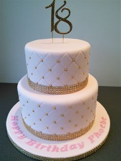 Pink and gold quilted 18th birthday cake (18th birthday cake)