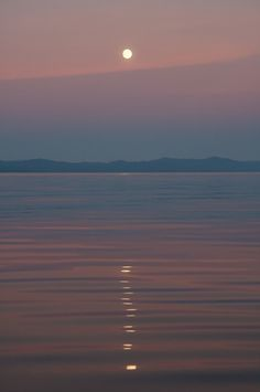 'A Painted Moon Over The Salish Sea', Island View Beach, Saanichton, Vancouver Island, BC, Canada