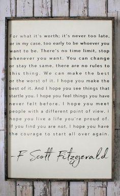 F. Scott Fitzgerald Quote, Wood Sign. Inspiring Quotes. Rustic Decor. Fixer Upper. Modern Farmhouse wall art. Farmhouse Decor. Housewarming gift idea, Inspirational decor, Rustic sign, Living room sign, office decor, home decor #ad #homedecorideas #DIYHomeDecorLivingRoom