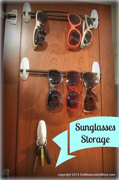 Store the entire family's sunglasses on two hooks and a dowel (you can make sure the dowel stays in place with a tiny bit of sticky tack). | 31 Clever Ways Hooks Can Organize Your Entire Life