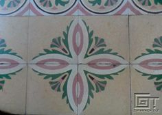 Pink and Green Floral Detail #2 in La Habana Cement Tile Floors