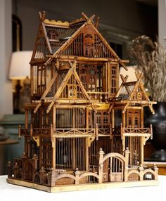 circa 1860 architectural wood and metal #antiquebirdcage with bird perches and doors from France, at #LeeStantonAntiques. Extraordinary.