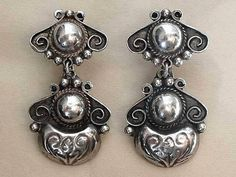 Vintage MEXICAN Silver Earrings DROPS Repousse Workmanship Hallmarked c.1930's