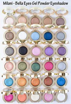 Valentine Kisses: Milani Bella Eyes Gel Powder Eyeshadow - swatches & pics of ALL 30 Shades! Plus review!