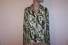 Shirt Top Blouse Accordian Crinkle Pleats Abstract Floral E.K. DESIGNS Sz Small #EKDesign #ButtonDownShirt #Career