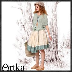 Artka - Artka Women'S Summer Fashion Cute Above Knee Length Slim Waist Self Belt Button Patchwork Embroidery Pleated Skirt QA10248X
