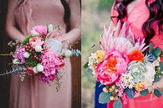 Bright and Bold Wedding Bouquets - dianthus and protea bouquet