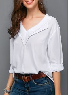 The best white top for work and play! White Long Sleeve V Neck Blouse V Neck Blouse, Long Blouse, White Cotton Blouse, Silk T Shirt, Trendy Tops For Women, White V Necks, How To Roll Sleeves, Looks Cool, White Long Sleeve