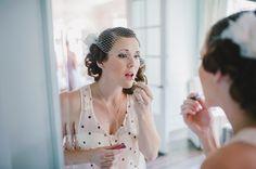 Bride getting ready #wedding #vintage (Image by Mango Studios)