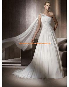 Unique Brautkleider aus Chiffon A-Linie mit Applikation Einschulter online 2013