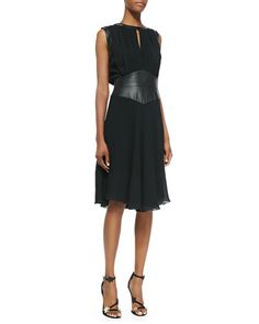 Sleeveless Pleated Leather Bodice Dress by L\'Agence at Bergdorf Goodman.