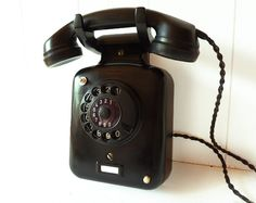 Beautiful Vintage black Rotary Wall Telephone in by LaLoupiote, $160.00