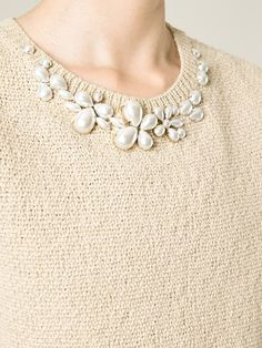 Beige embellished collar sweater from Ermanno Scervino.