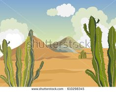 Summer landscape. Desert with cacti. Mountains of sand. Vector background.