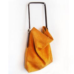 Yellow suede leather tote (large)