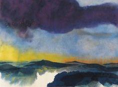Emil Nolde (German, 1867-1956), Seelandschaft [Seascape]. Watercolour on Japan paper, 35.6 x 45.7 cm.