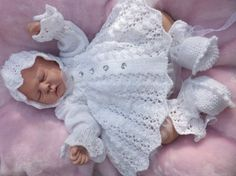 """i*believe*in*angels C*L*O*V*E*R 3 PIECE MATINEE SET FOR A NEWBORN / REBORN BABY 