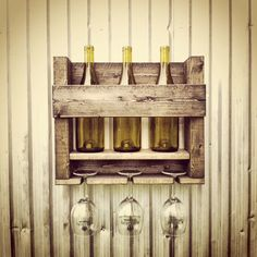 Wood Wine Rack Wine Storage Hanging Wine Rack by BoondockTreasures, $30.00