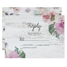 #Rustic Vintage Floral Wood Wedding RSVP Reply Card - #weddinginvitations #wedding #invitations #party #card #cards #invitation #rustic
